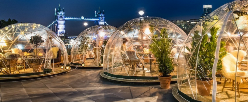 Image of igloos at the Coppa Club, London