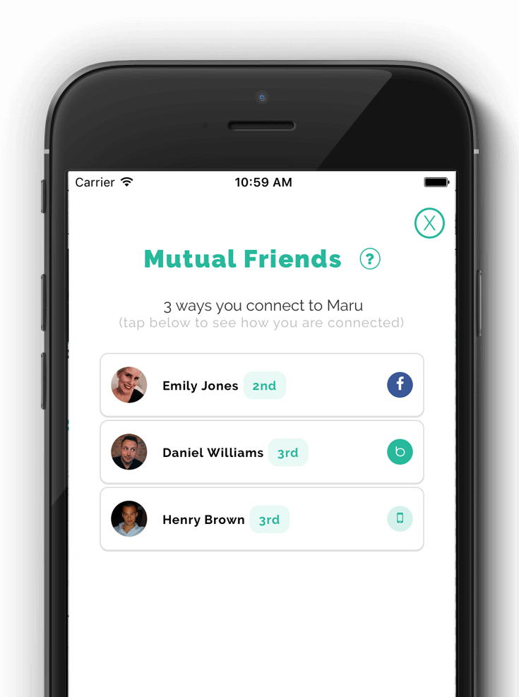 Image of mutual friends screenshot on bubble app