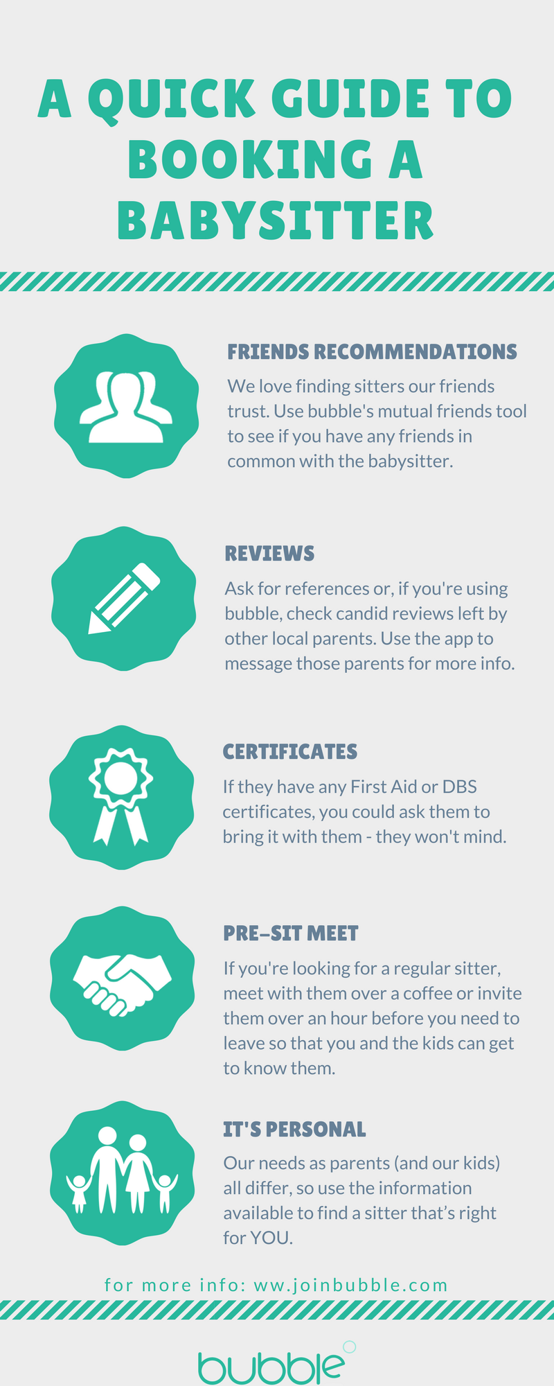 'A quick guide to booking a babysitter' inforgraphic