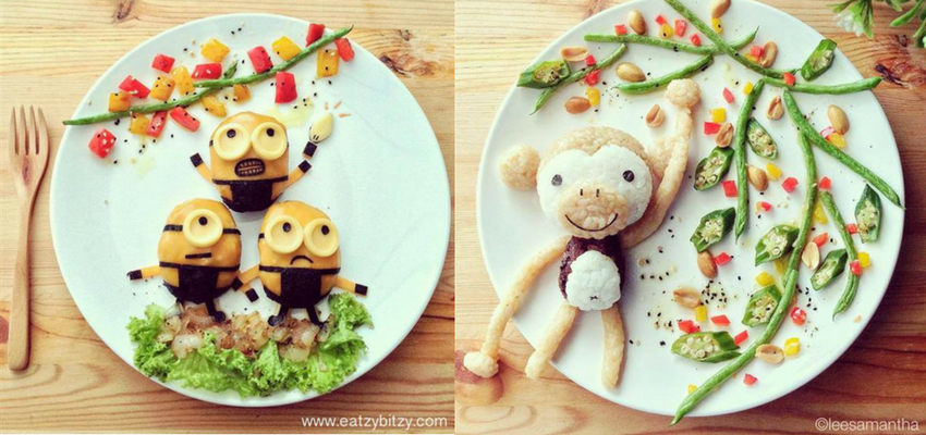 Heathy food cut into fun shapes