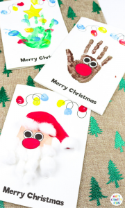Handprint cards are great for some festive fun