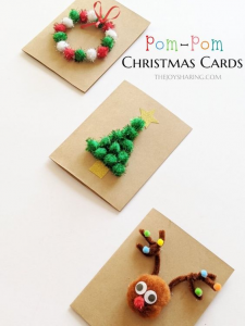 There are so many different ways to make Christmas cards with pom-poms