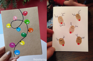 Let your kids get creative with thumbprint Christmas cards